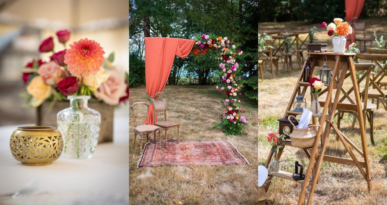 décoration mariage, fleuriste mariage, wedding designer, floral designer, arche, cérémonie laïque, centre de table, déco mariage