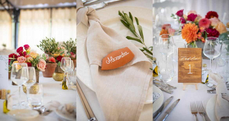 table mariage, décoration mariage, détails de table, art de la table, décoratrice mariage, fleuriste mariage, wedding design, floral design, terracotta, marque place, olivier