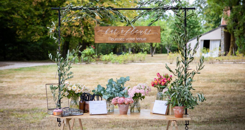 bar à fleurs, chateau bourguignon, fleuriste, mariage, décoration, animation, boutonnière, floral designer