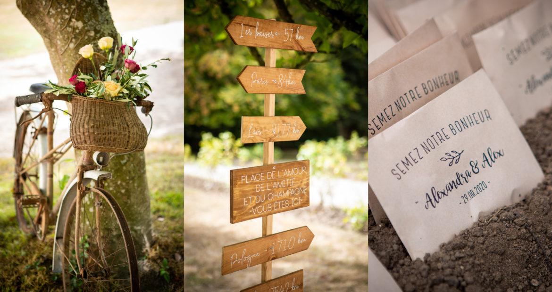 cadeau invité, signalétique, vélo vintage, mariage champêtre, mariage bohème, décoratrice, wedding designer, event designer