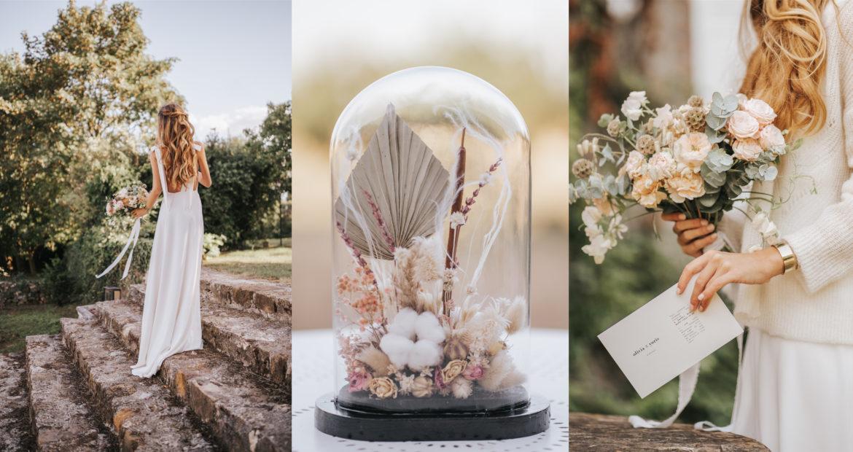 fleurs séchées, fleurs fraiches, future mariée, bouquet de mariée, globe de fleurs séchées