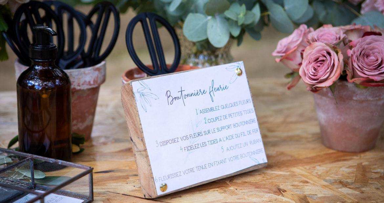 papeterie, bar à fleurs, futures mariées, boutonnières, tutoriel, DIY, fleuriste mariage, chateau bourguignon, mademoiselle constellation