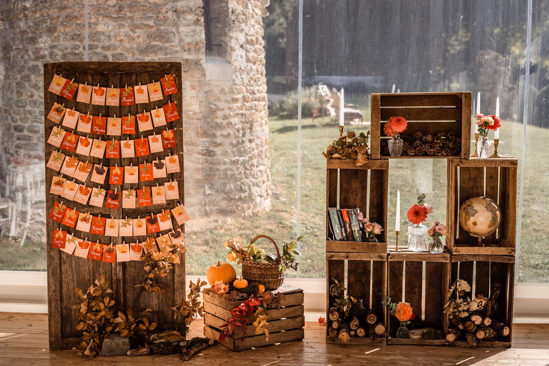 Plan de table, décor d\'automne