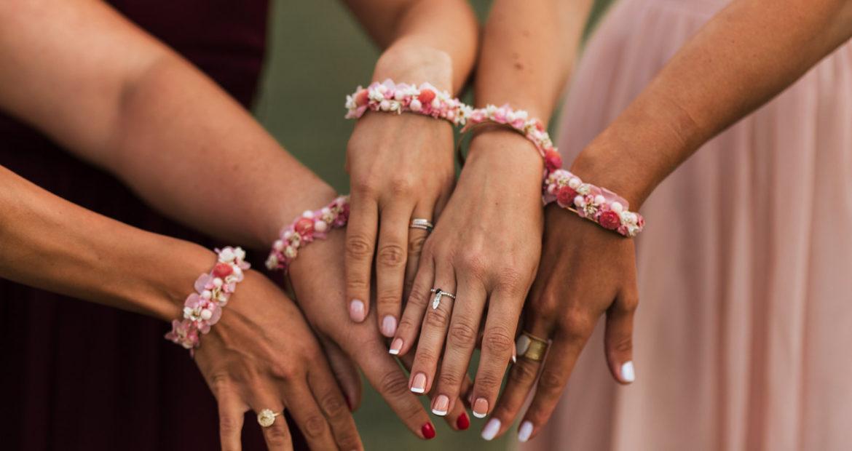 Fleurs séchées, cadeaux demoiselles d'honneur, bracelet, fleurs séchées, créations florales