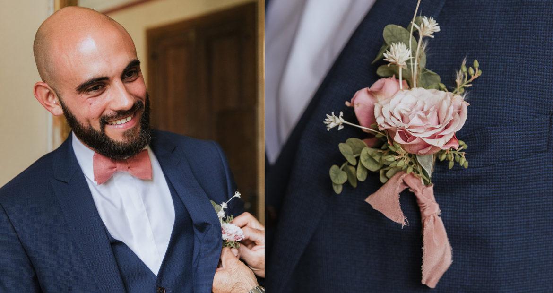 boutonnière, futur marié, fleuriste mariage, fleuriste Ile de France, mariage élégant, mariage raffiné, floral designer, wedding designer, décoratrice mariage