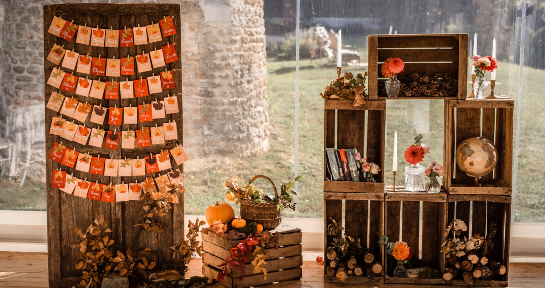 Plan de table, scénographie, mariage, décoratrice mariage, automne, mariage en automne