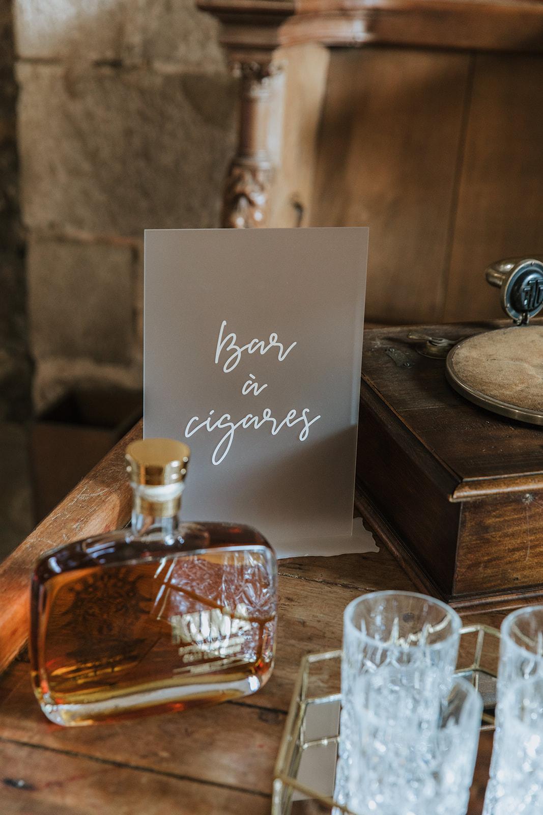 bar à cigares, mariage, décoratrice mariage, mariage raffiné
