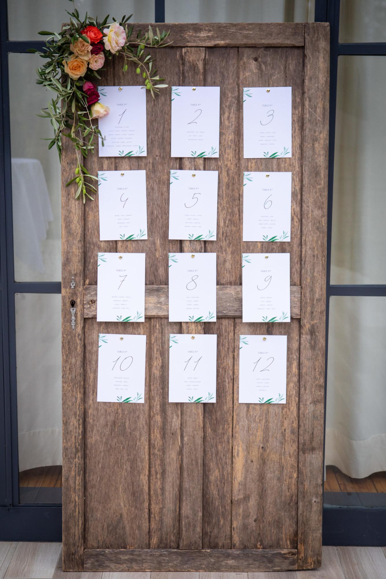 Plan de table décoration mariage