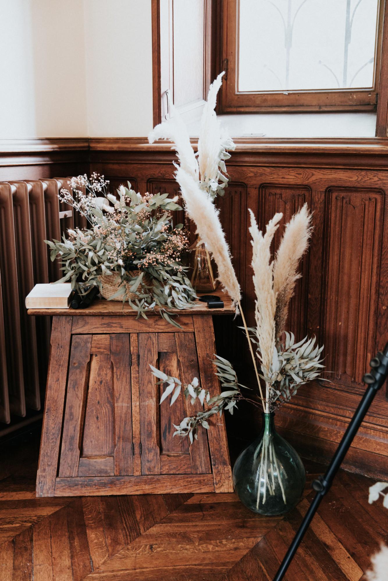 cérémonie mariage, mariage raffinée, fleurs séchées