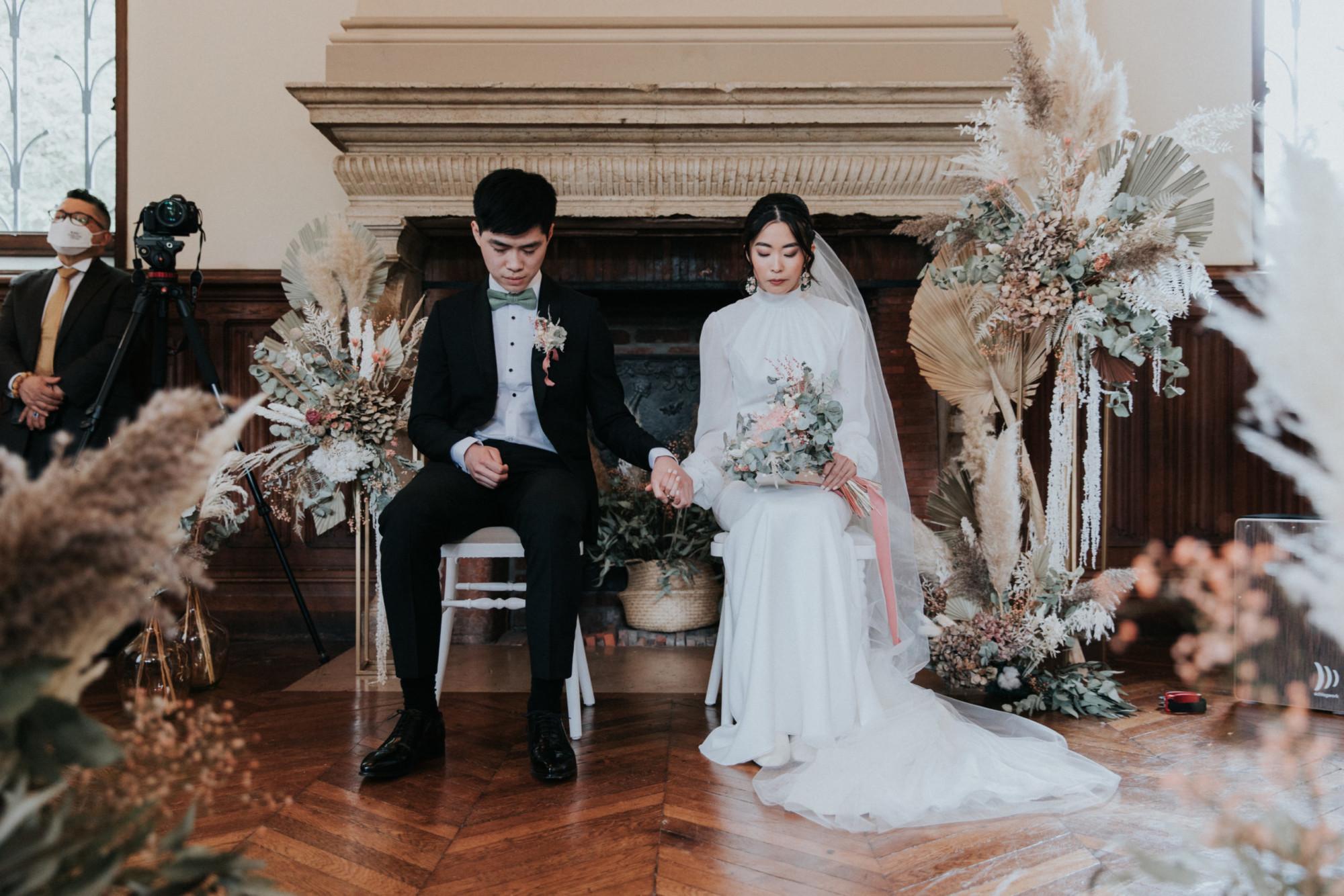cérémonie mariage, luxe, fleurs séchées